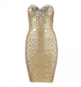 Crystal strapless gouden bodycon bandage jurk
