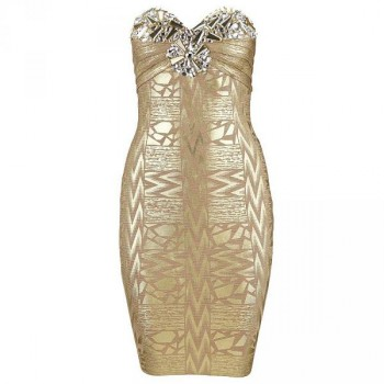 Diamond queen bandage dress gold