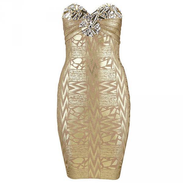 goudkleurige jurk