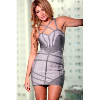 'Amel' Shades of grey bandage dress