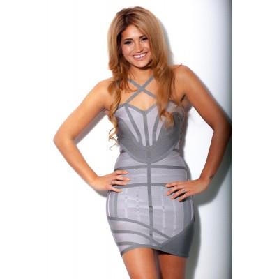'Amel' Shades of grey bandage dress