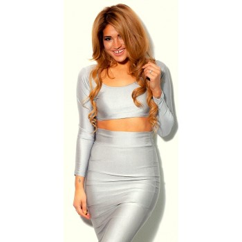 'Cassie' two piece gray bodycon dress