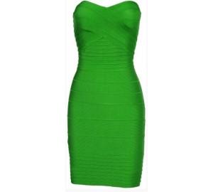 'Kim' Groene strapless bandage jurk