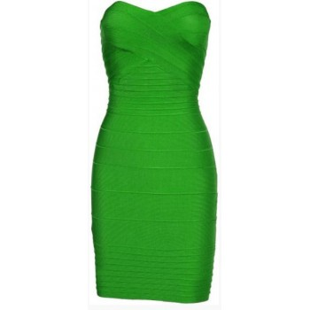 'Kim' Green strapless bandage dress