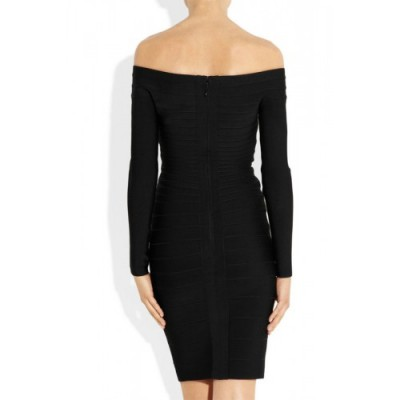' Amber' Black boatneck bandage dress with long sleeves