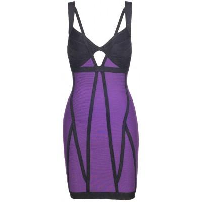 'Jo' Purple & black bodycon bandage dress