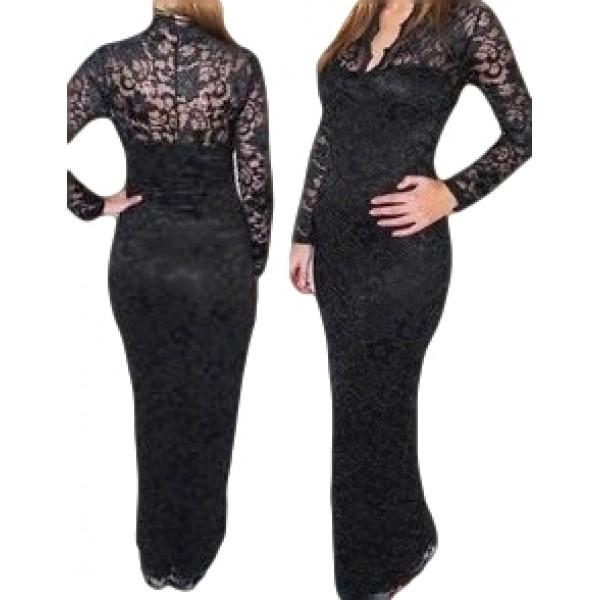 Lange kanten jurk met lange mouwen