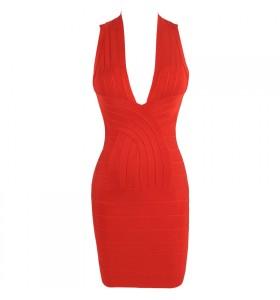 'tara' deep v-neck backless red bandage dress