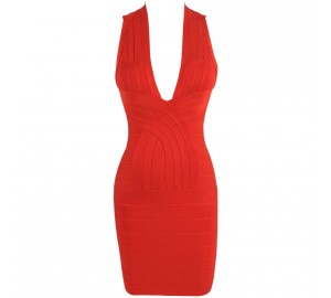 'tara' backless & deep v-neck red Bandage dress