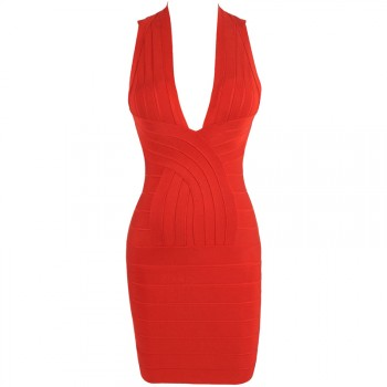 'tara' deep v-neck backless red bandage dress