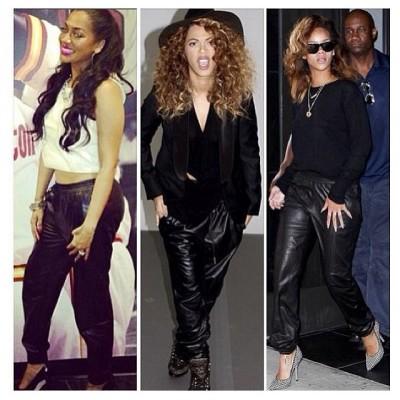 Celebrity black Leather jogging pants