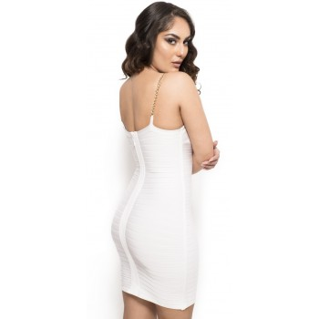 'Amara' white bandage dress with low neckline