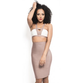'Sila' nude two piece bandage dress with long sleeves