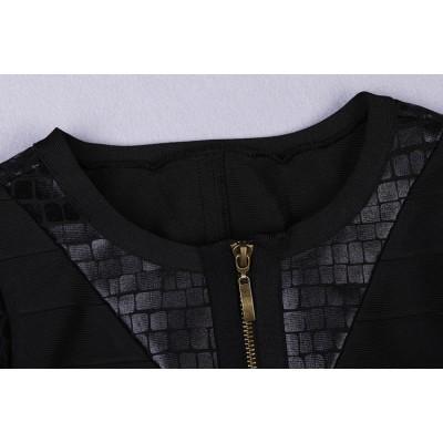 'Irina' leather bandage dress with long sleeves
