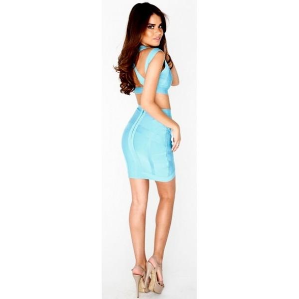 Light blue two-piece Bandage Dress now online €99,95