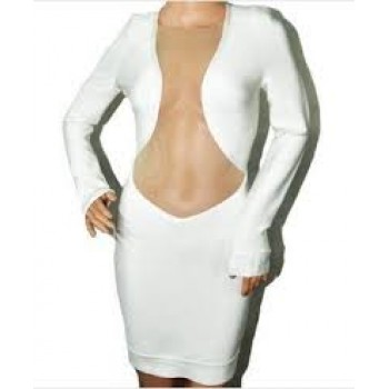 White front mesh bodycon dress long sleeves