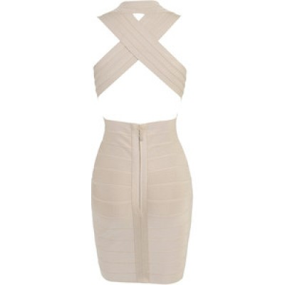 'Tara' nude backless v-neck bandage dress