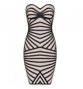 Nude/black leatherette bandage dress