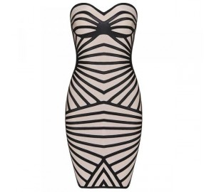 NUDE BLACK LEATHERETTE BANDAGE DRESS