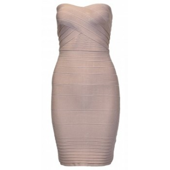 Nude strapless midi bandage dress