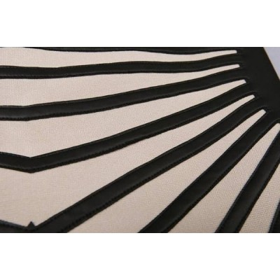 NUDE BLACK LEATHERETTE BANDAGE DRESS