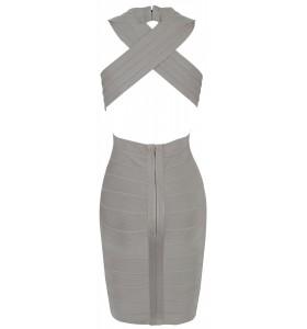 'tara' deep v-neck backless grey bandage dress