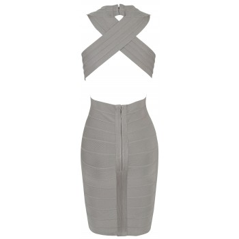 'tara' deep v-neck backless grey bandage dress