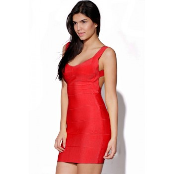 'Christina' red backless bandage dress