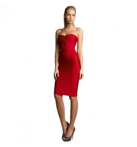 Rode strapless bandage jurk