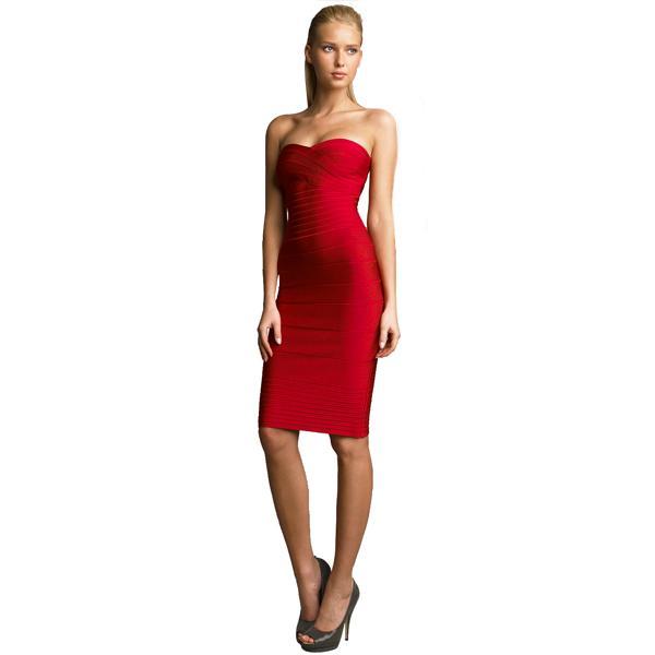 rode strapless jurk