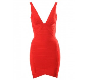 Ari Red V-neck Bandage Dress