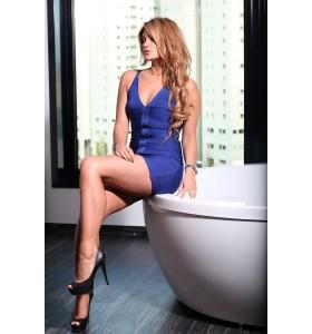 'Gisele' blauwe bandage jurk met diepe v-hals