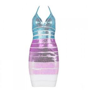 'Alexia' pailletten pastel bandage jurk