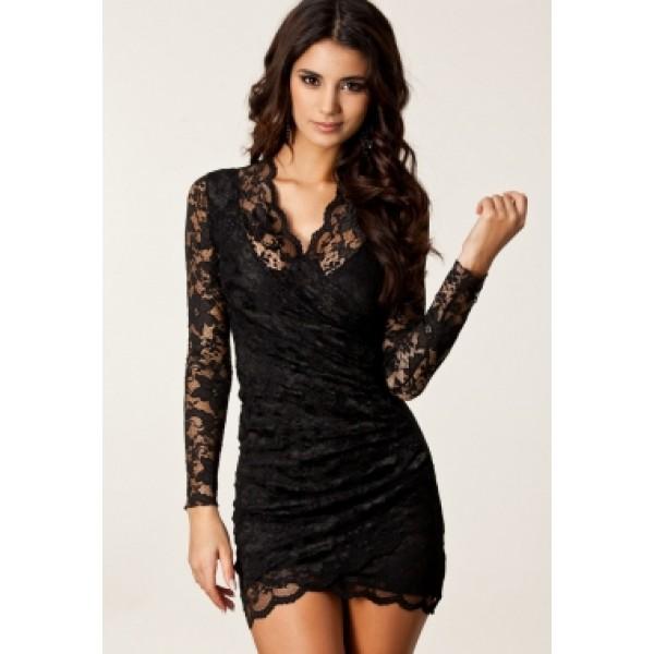 Sexy drapiert Spitzenkleid/ Lace Kleider mit langen Ärmeln