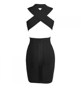 'tara' Deep V-Neck backless black bandage dress