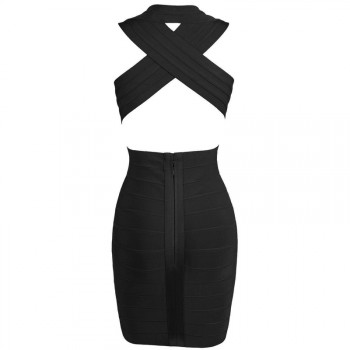 'tara' deep V-Neck backless black bandage dress