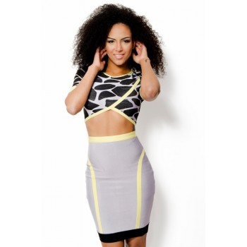 'Aiko' two-piece animal print bandage dress