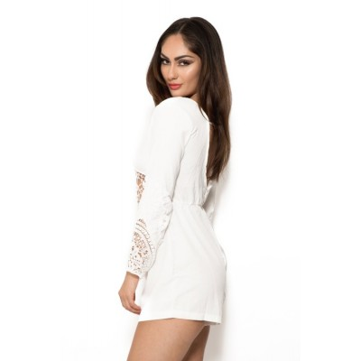 'Anahi' white lace playsuit with long sleeves