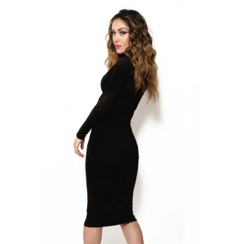 'Jade' black midi bodycon dress with turtleneck