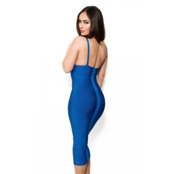 'Jhene' cobalt blue bandage dress with deep V-neck