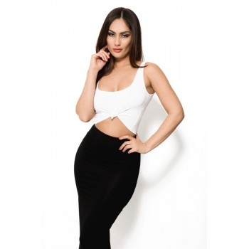 'Cadena' black and white two piece dress