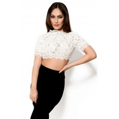 'Lorraine' white crochet lace crop top