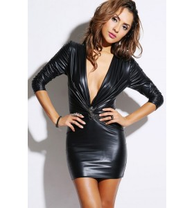 Diepe V- hals leather look bodycon dress