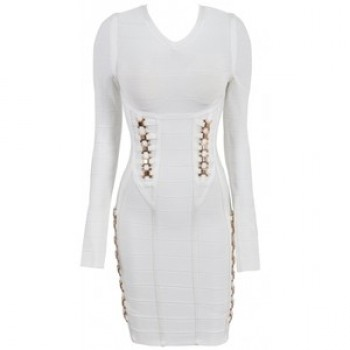 White Gold Embellished White Bandage Dress