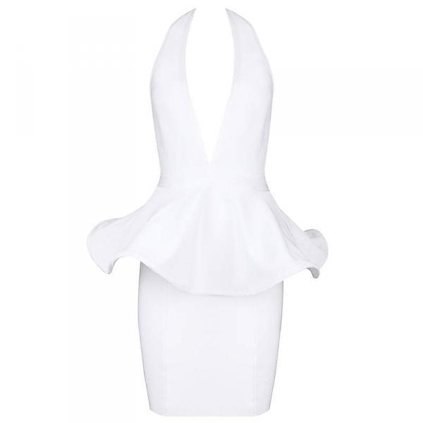 Weiß rückenfreies Kleid Bandage Schößchen