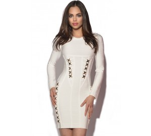 Gold Embellished White Longsleeve Bandage Dress