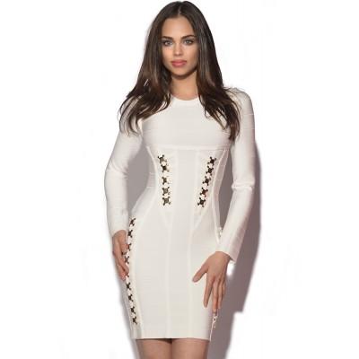 Gold Embellished White Longsleeve Bandage Dress