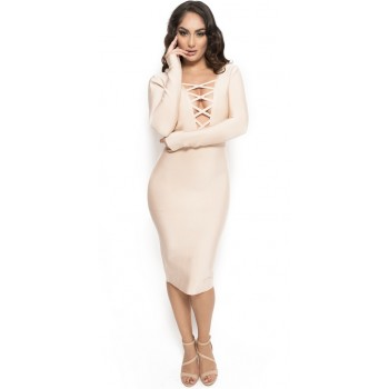 'Aamina' beige bandage dress with deep v-neck and long sleeves