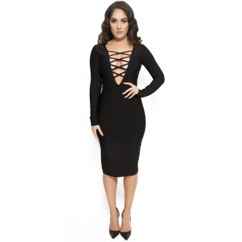 'Aamina' black criss cross front bandage dress with long sleeves