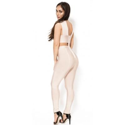 'Aami' nude cut out bandage jumpsuit